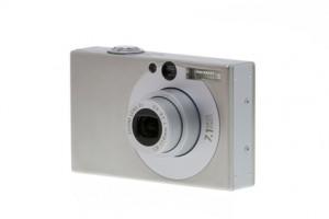 Eine kleine silberne Digitalkamera